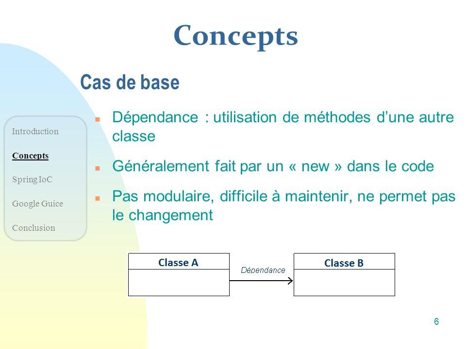 Concepts Cas de base. Dépendance : utilisation de méthodes d'une autre classe. Généralement fait par un « new » dans le code.