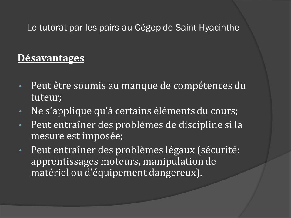 Le tutorat par les pairs au Cégep de Saint-Hyacinthe