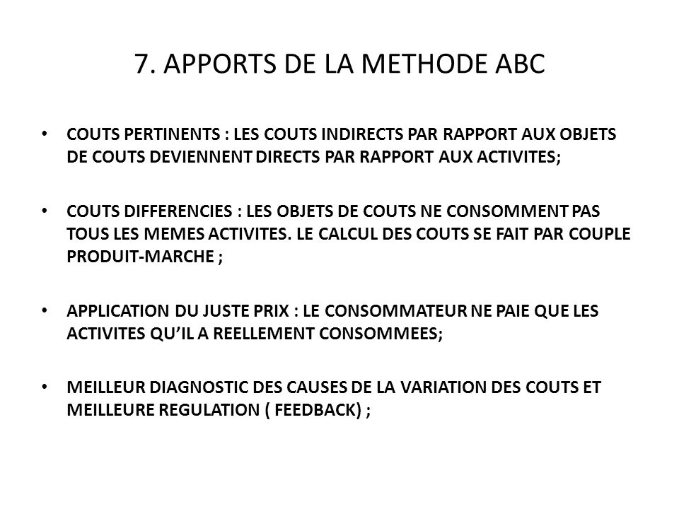7. APPORTS DE LA METHODE ABC