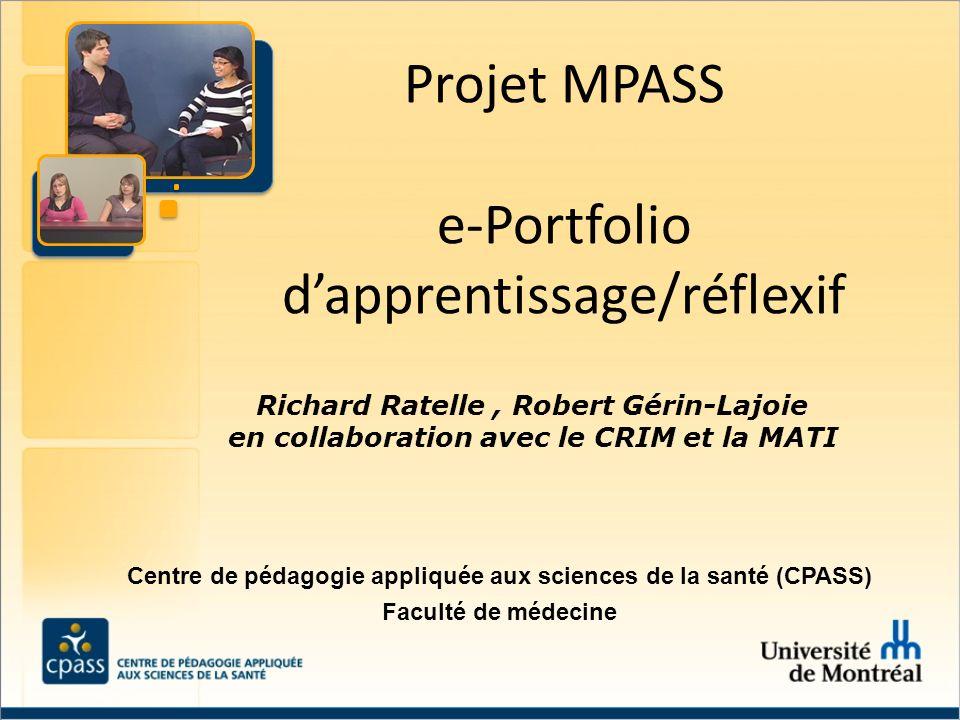 Projet MPASS e-Portfolio d'apprentissage/réflexif