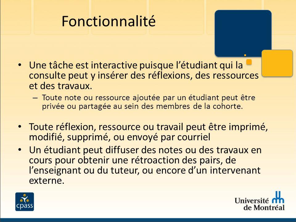 Fonctionnalité Une tâche est interactive puisque l'étudiant qui la consulte peut y insérer des réflexions, des ressources et des travaux.