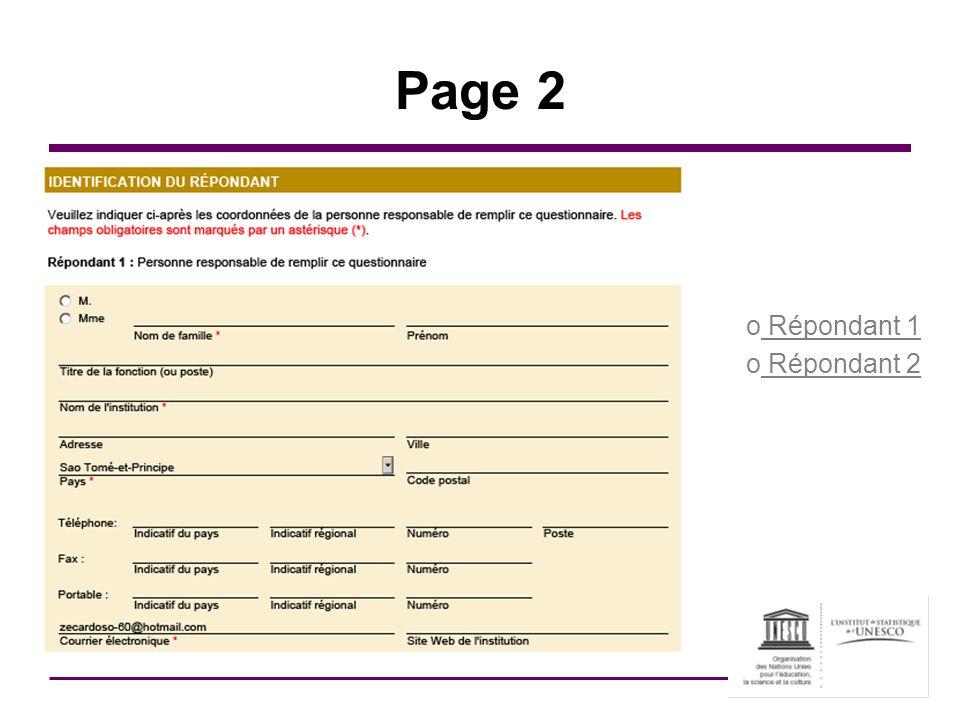 Page 2 Répondant 1 Répondant 2