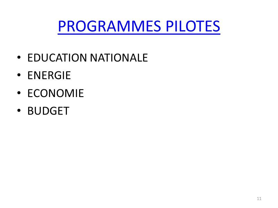 PROGRAMMES PILOTES EDUCATION NATIONALE ENERGIE ECONOMIE BUDGET