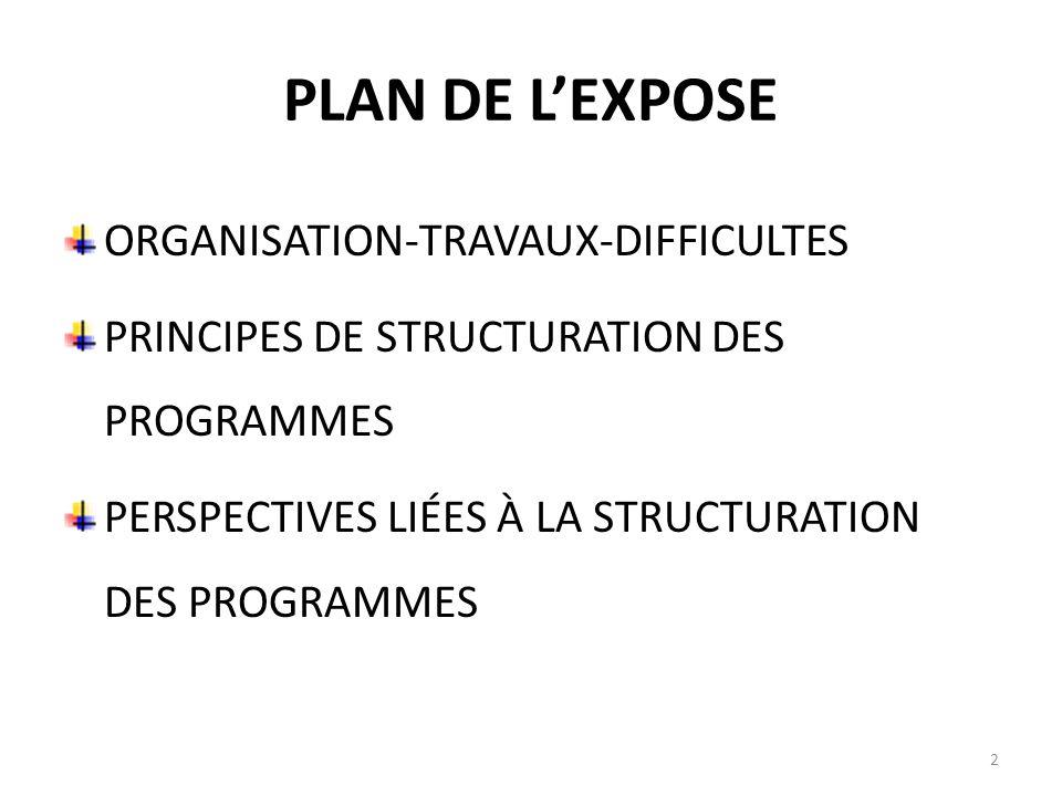 PLAN DE L'EXPOSE ORGANISATION-TRAVAUX-DIFFICULTES