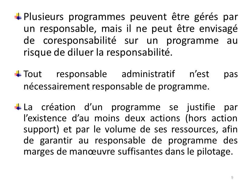 Plusieurs programmes peuvent être gérés par un responsable, mais il ne peut être envisagé de coresponsabilité sur un programme au risque de diluer la responsabilité.