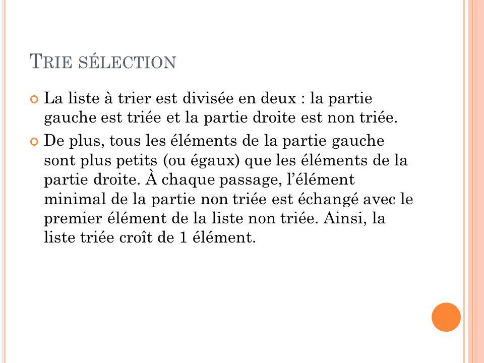 Trie sélection La liste à trier est divisée en deux : la partie gauche est triée et la partie droite est non triée.