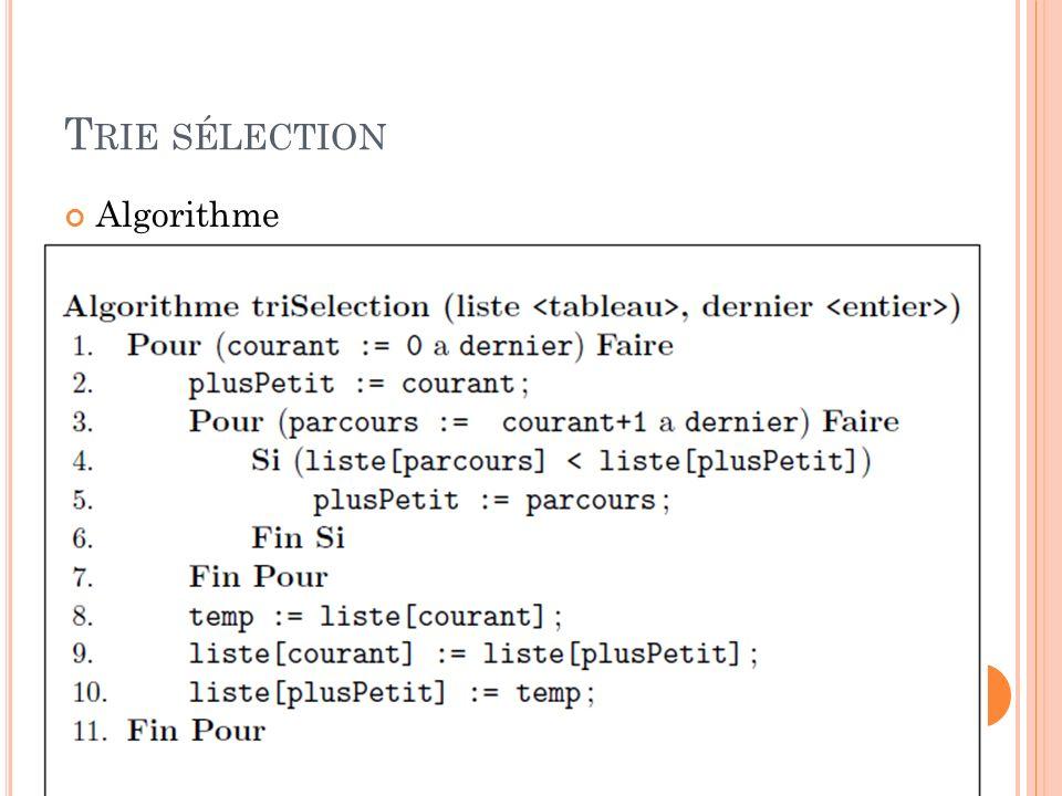 Trie sélection Algorithme