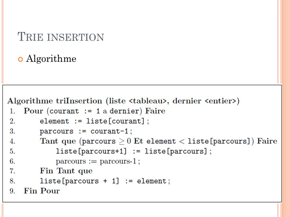 Trie insertion Algorithme