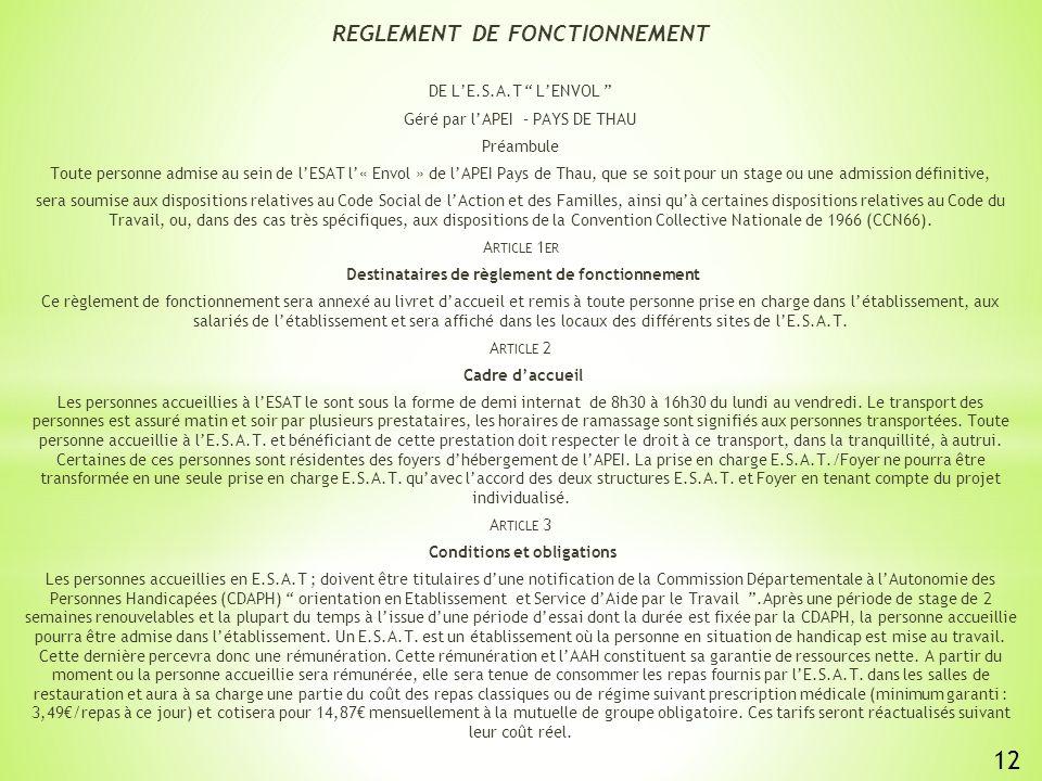 REGLEMENT DE FONCTIONNEMENT