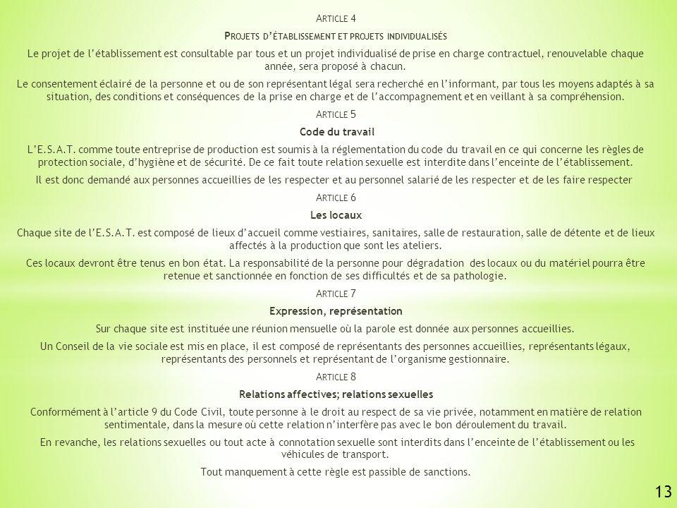 13 Article 4 Projets d'établissement et projets individualisés