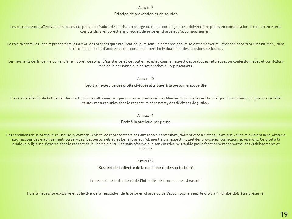 19 Article 9 Principe de prévention et de soutien