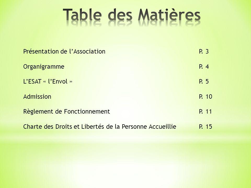 Table des Matières Présentation de l'Association P. 3