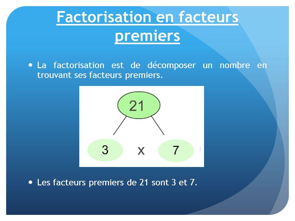 Factorisation en facteurs premiers