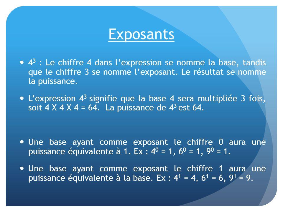 Exposants 43 : Le chiffre 4 dans l'expression se nomme la base, tandis que le chiffre 3 se nomme l'exposant. Le résultat se nomme la puissance.