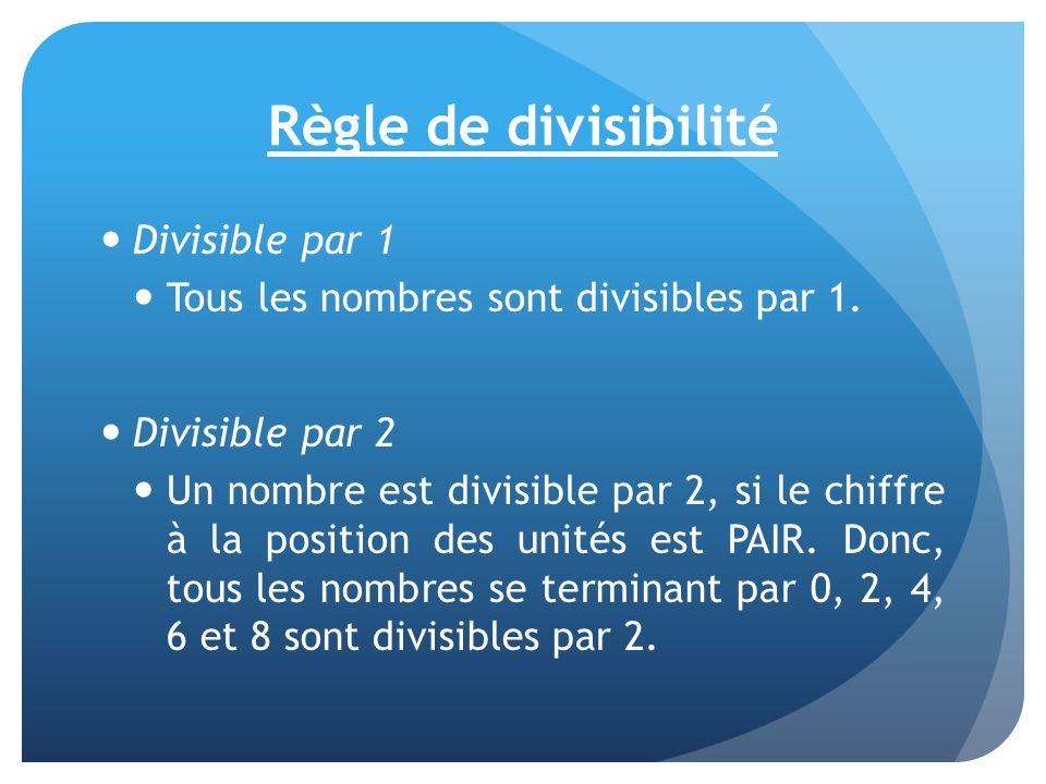 Règle de divisibilité Divisible par 1