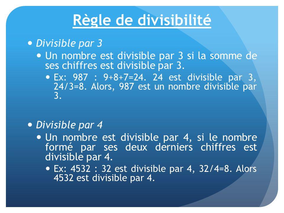 Règle de divisibilité Divisible par 3