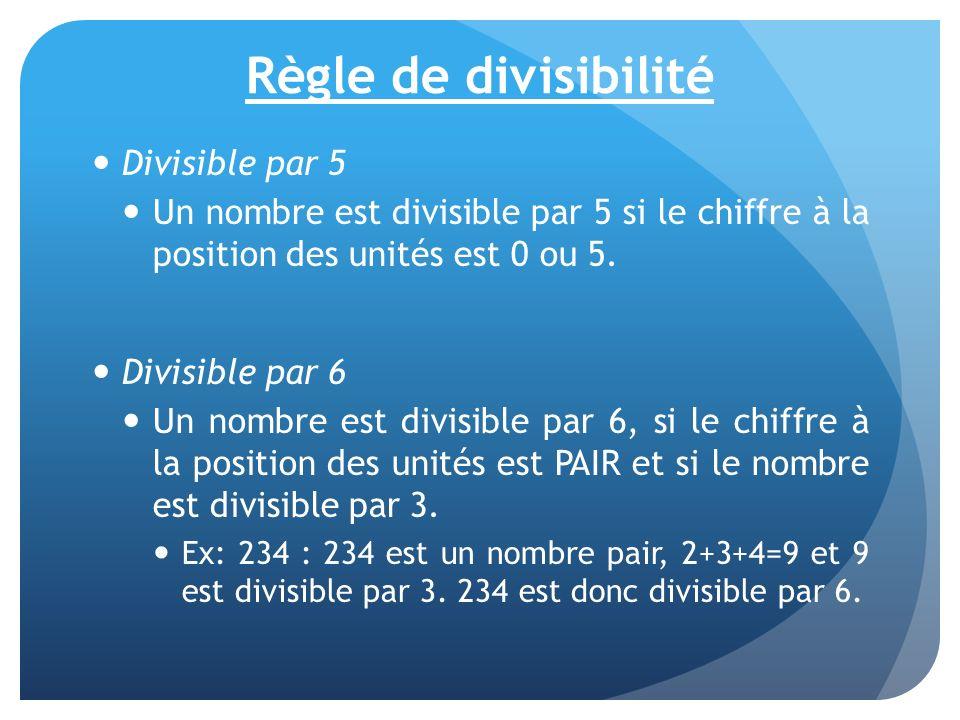 Règle de divisibilité Divisible par 5