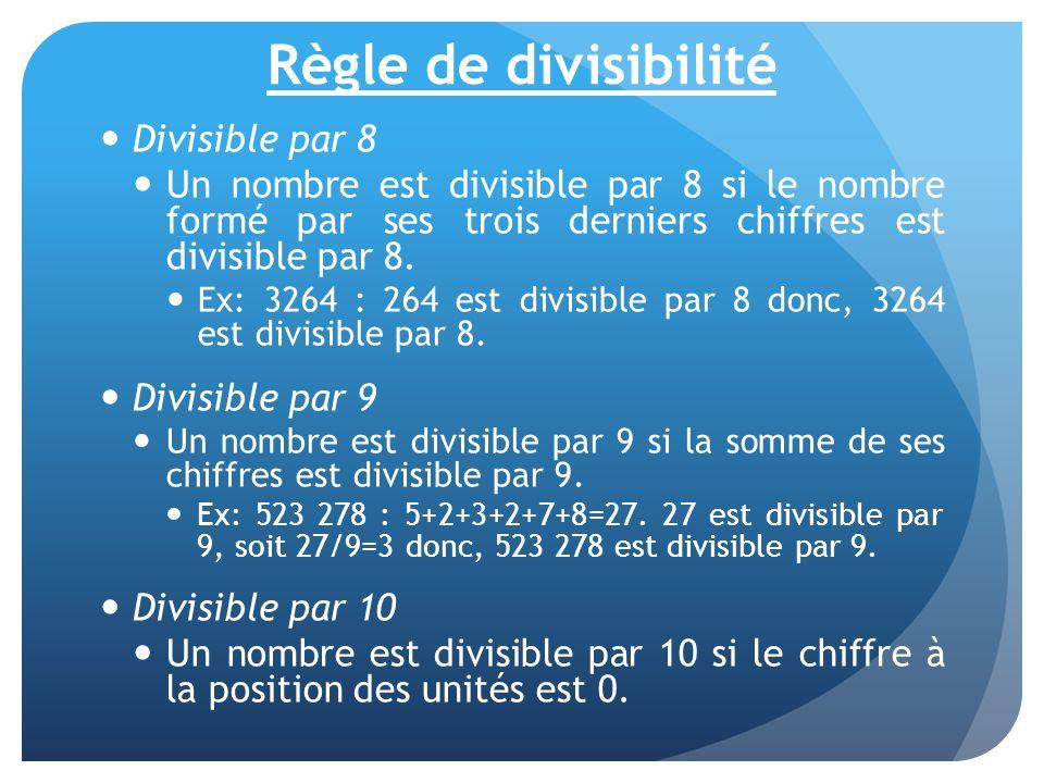 Règle de divisibilité Divisible par 8