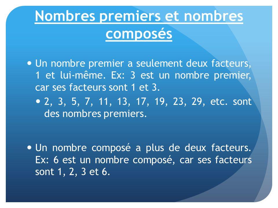 Nombres premiers et nombres composés