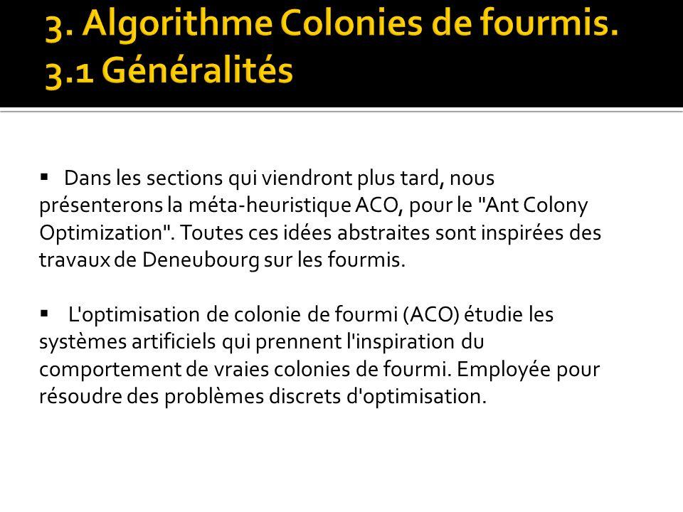 3. Algorithme Colonies de fourmis. 3.1 Généralités