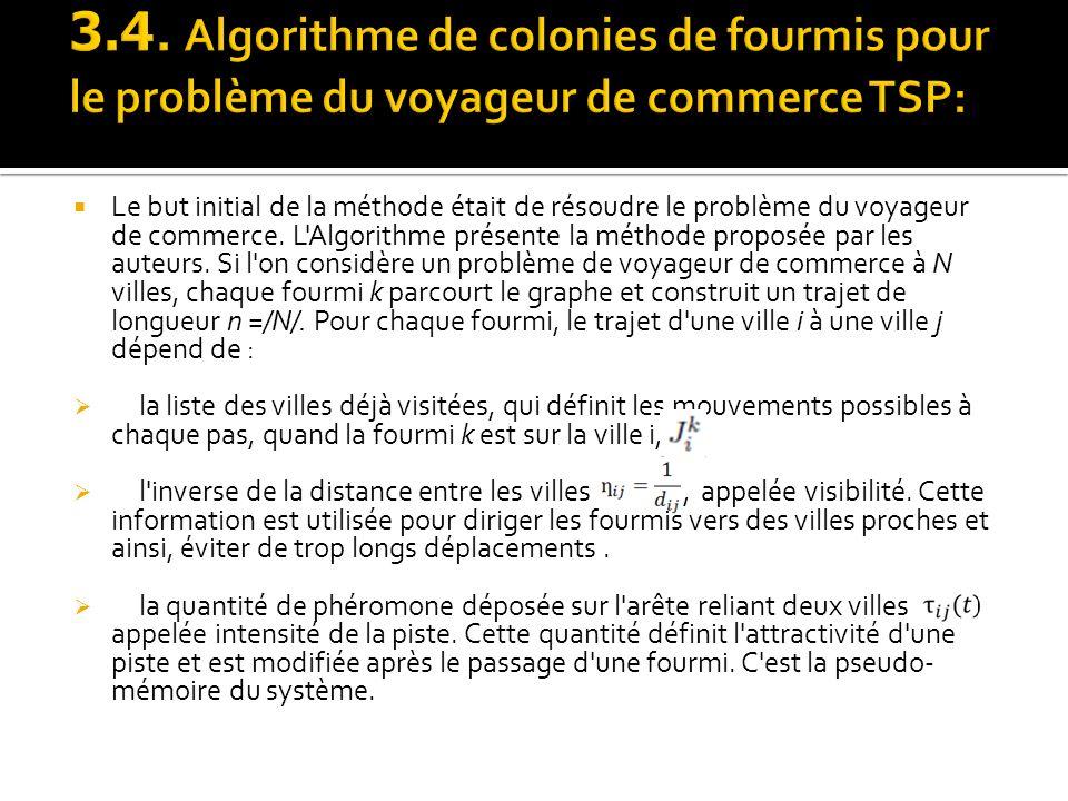 3.4. Algorithme de colonies de fourmis pour le problème du voyageur de commerce TSP: