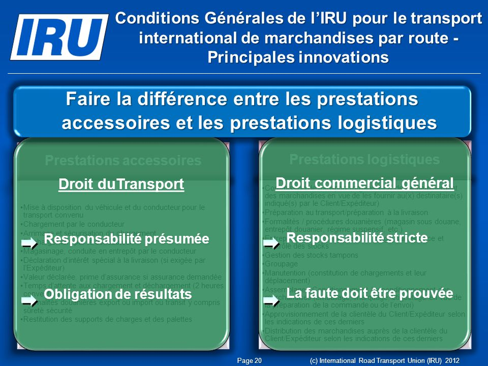 Conditions Générales de l'IRU pour le transport international de marchandises par route - Principales innovations