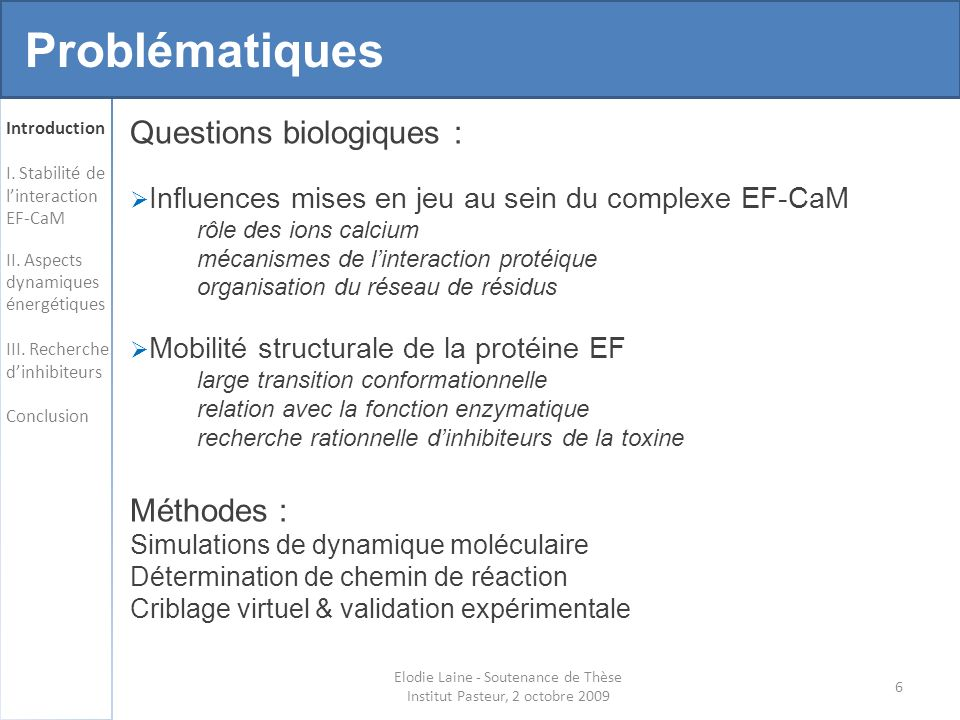 Elodie Laine - Soutenance de Thèse Institut Pasteur, 2 octobre 2009