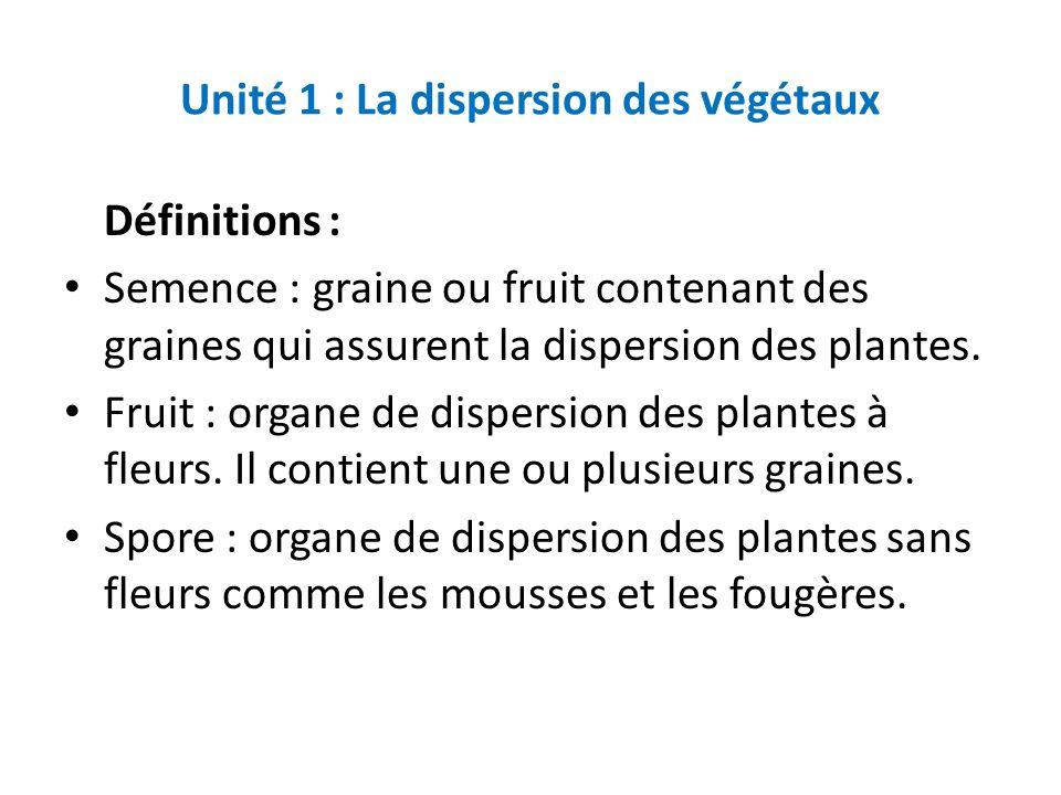 Unité 1 : La dispersion des végétaux