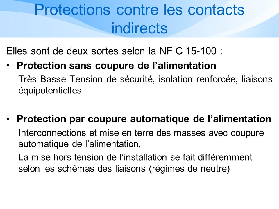 Protections contre les contacts indirects