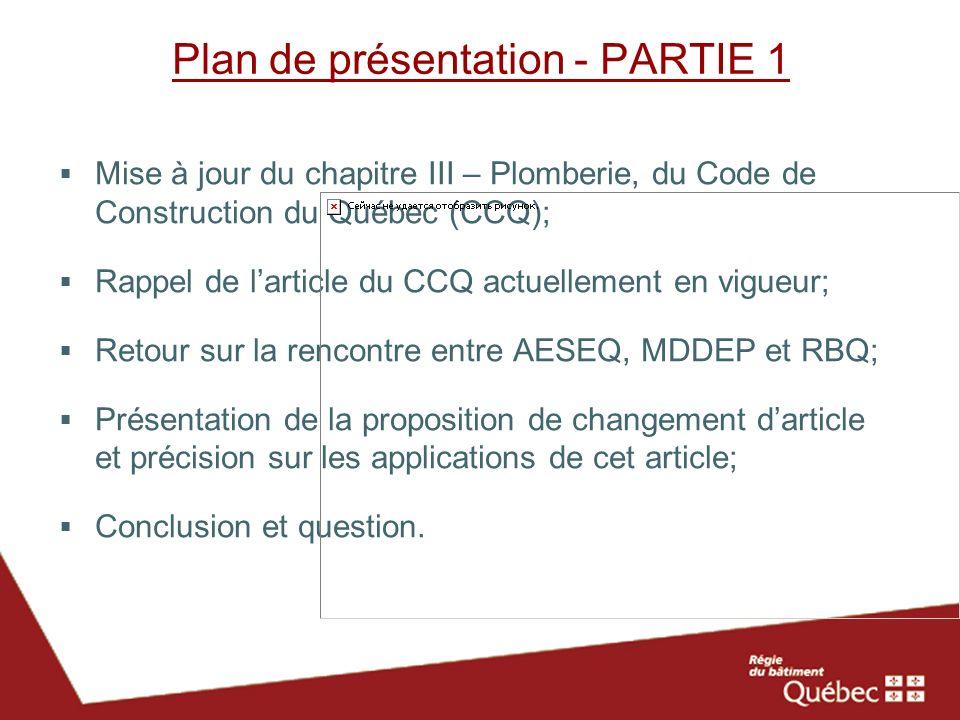 Plan de présentation - PARTIE 1
