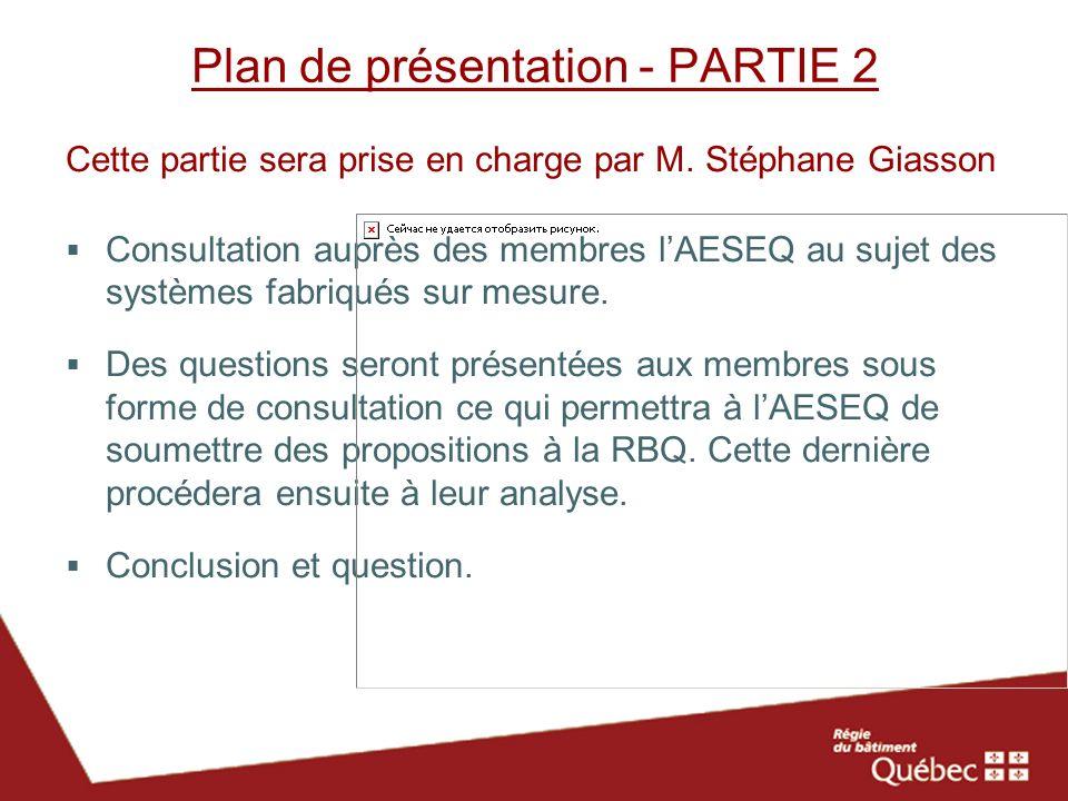 Plan de présentation - PARTIE 2