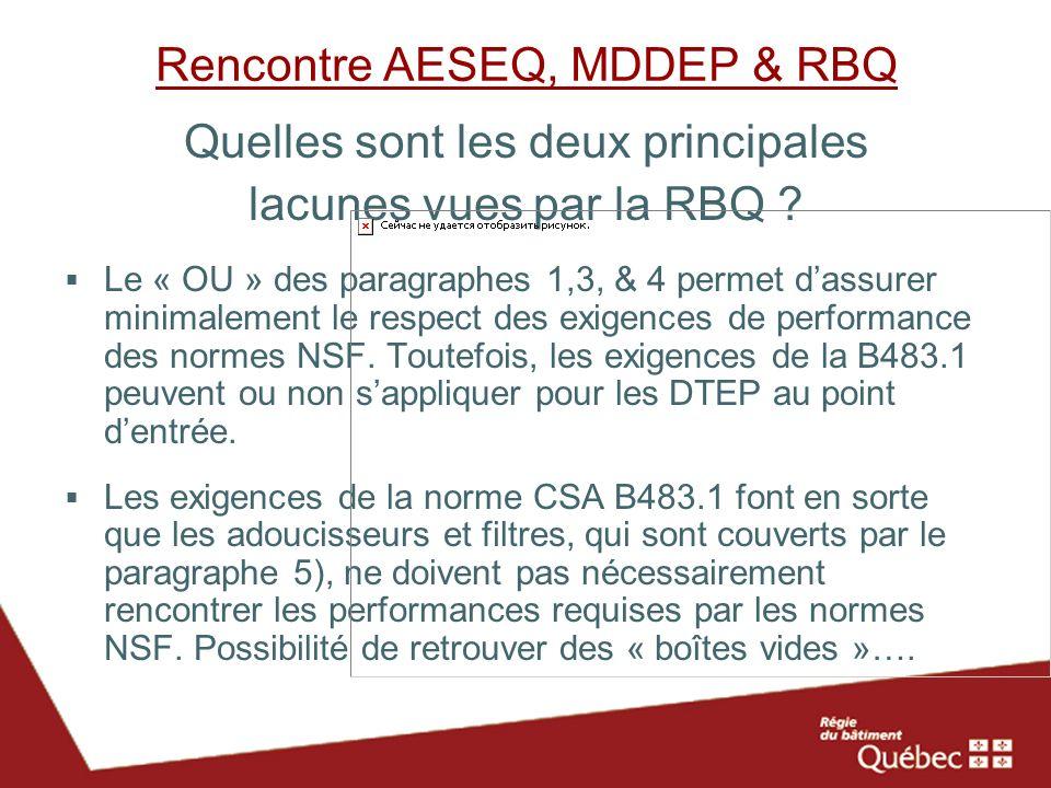 Rencontre AESEQ, MDDEP & RBQ