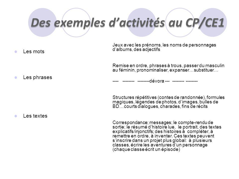 Des exemples d'activités au CP/CE1