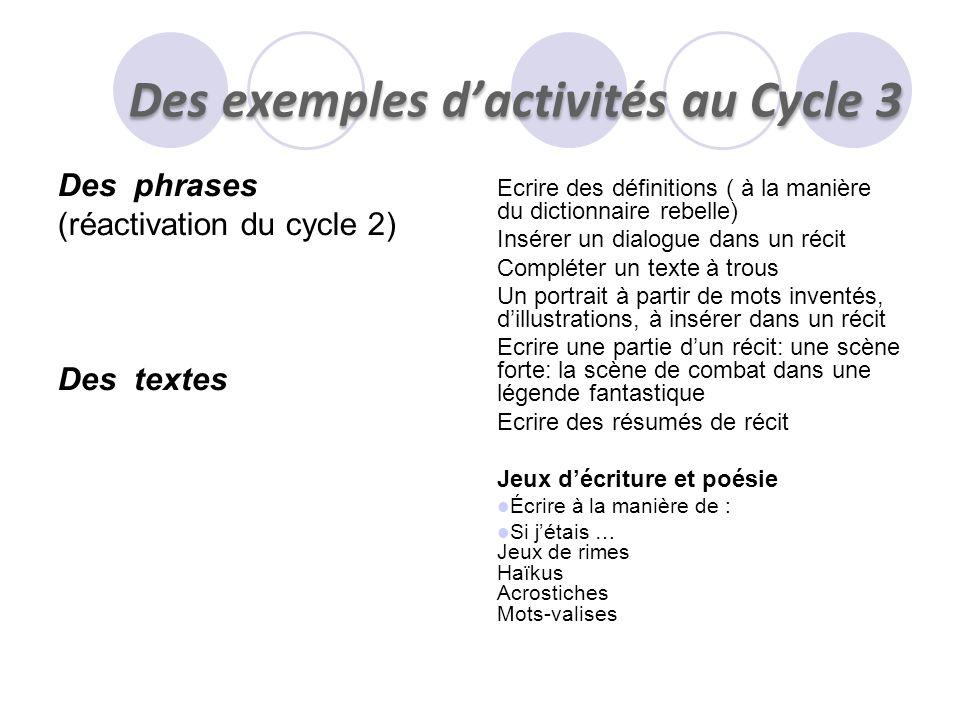 Des exemples d'activités au Cycle 3