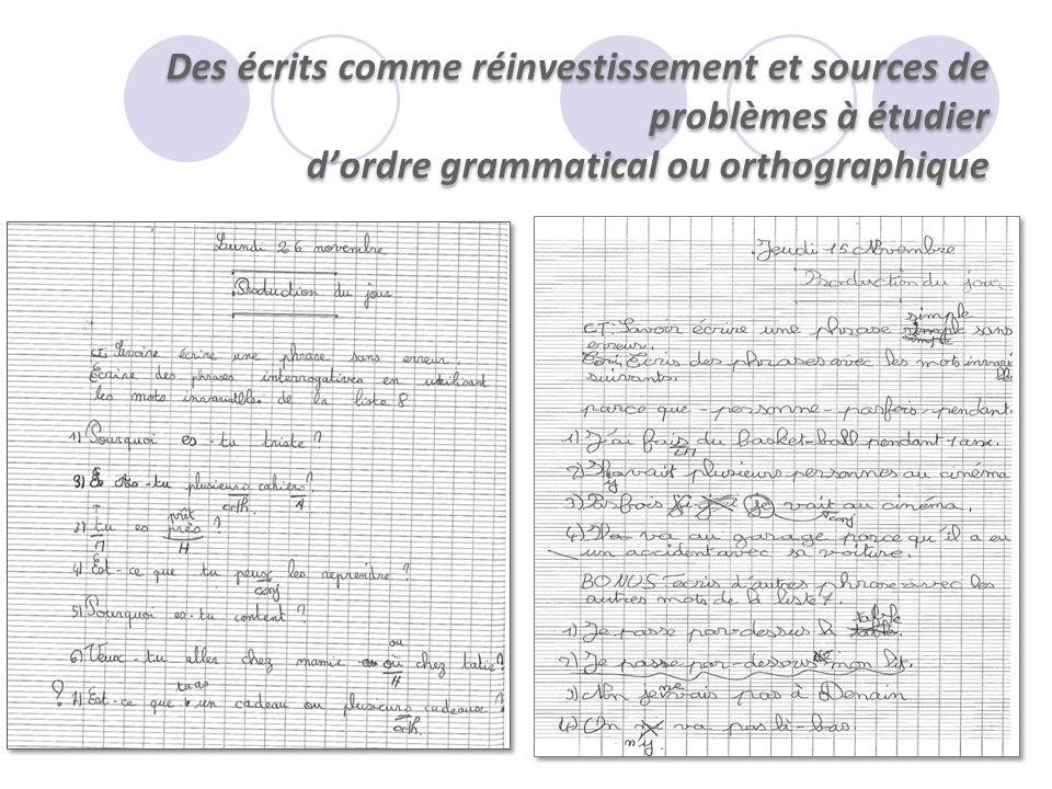 Des écrits comme réinvestissement et sources de problèmes à étudier d'ordre grammatical ou orthographique
