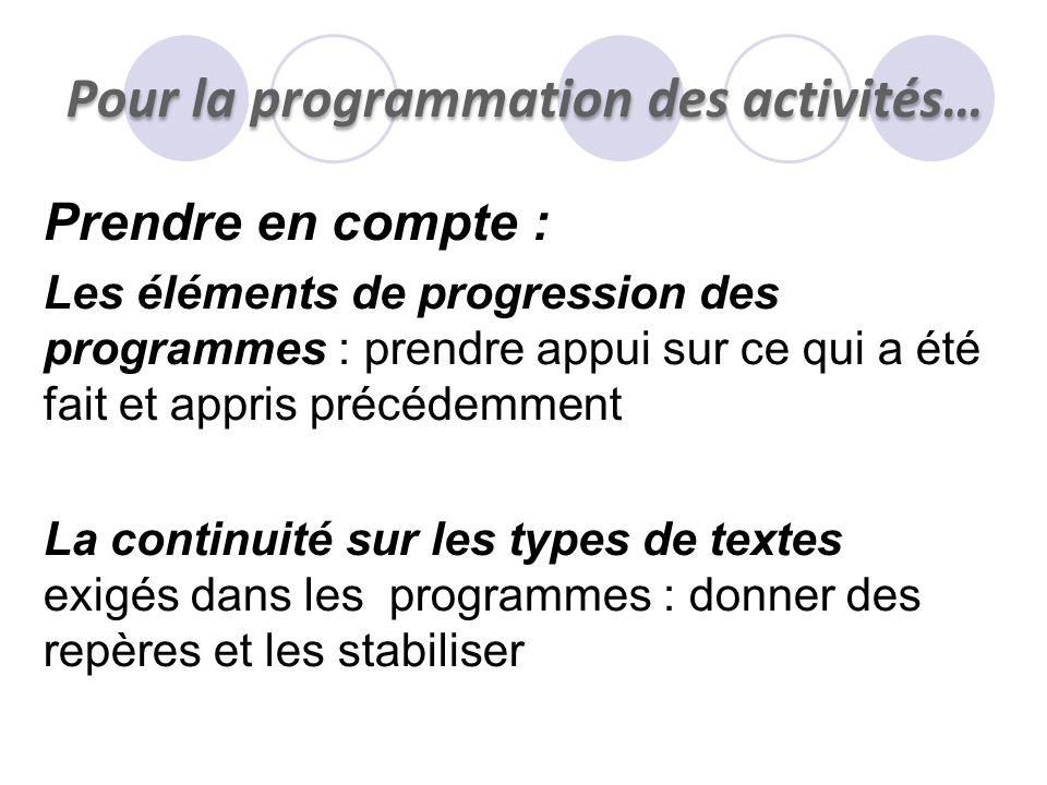 Pour la programmation des activités…