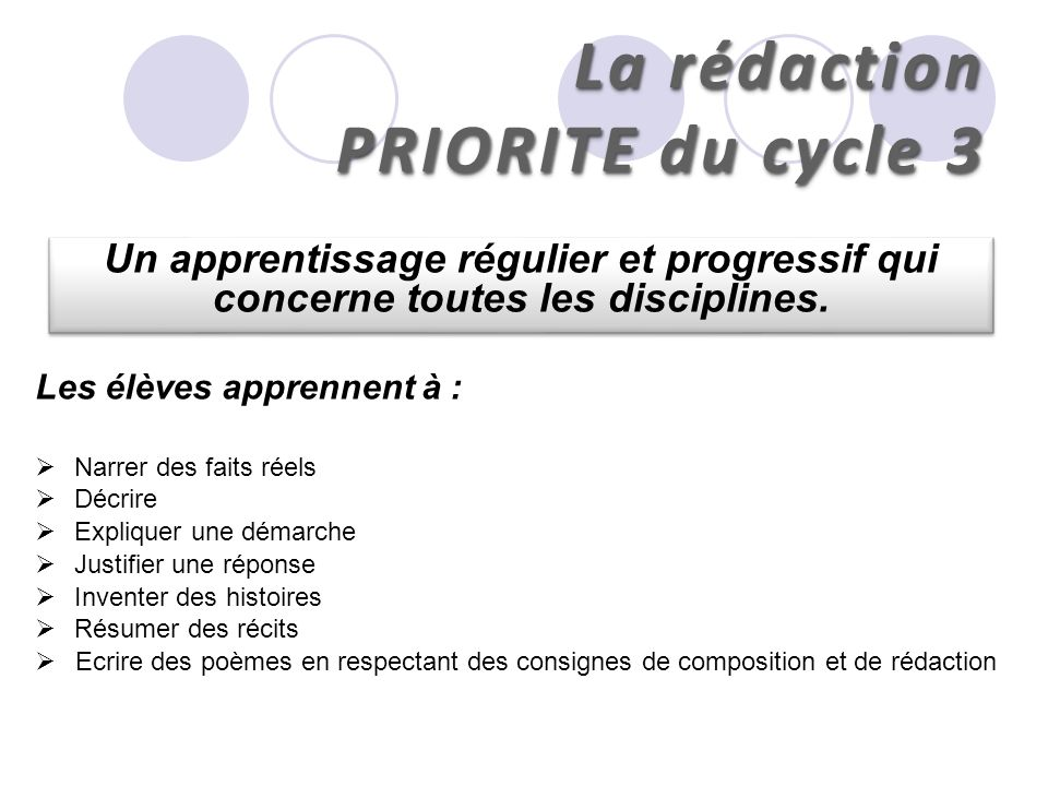 La rédaction PRIORITE du cycle 3