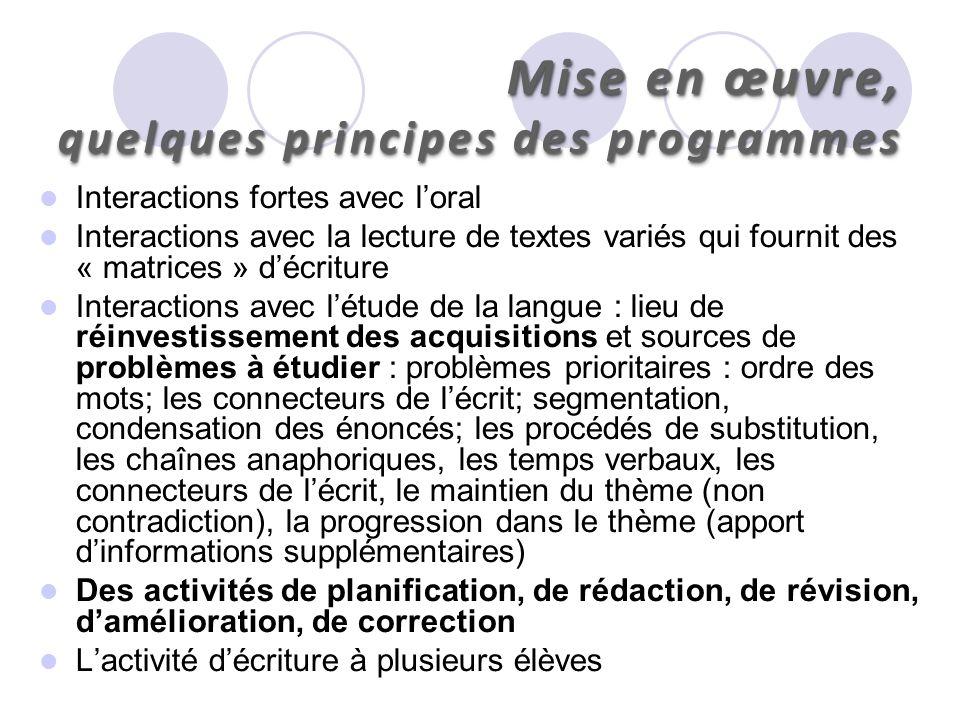 Mise en œuvre, quelques principes des programmes