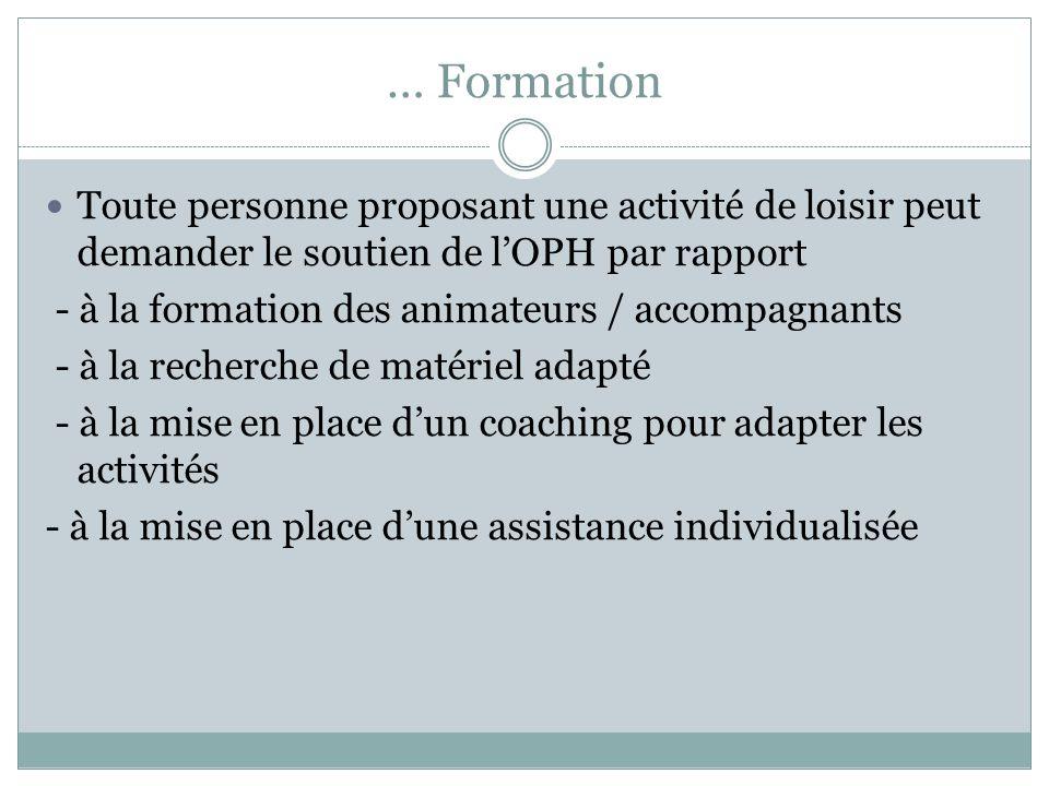 … Formation Toute personne proposant une activité de loisir peut demander le soutien de l'OPH par rapport.