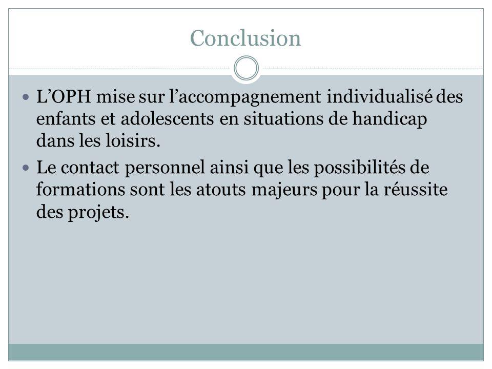 Conclusion L'OPH mise sur l'accompagnement individualisé des enfants et adolescents en situations de handicap dans les loisirs.