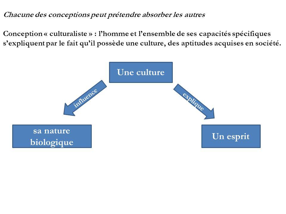 Une culture sa nature biologique Un esprit