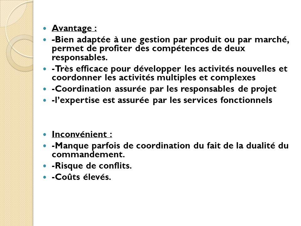 Avantage : -Bien adaptée à une gestion par produit ou par marché, permet de profiter des compétences de deux responsables.