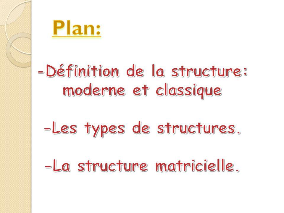 Plan: -Définition de la structure: moderne et classique