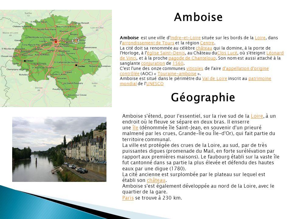 Amboise Amboise est une ville d Indre-et-Loire située sur les bords de la Loire, dans l arrondissement de Tours et la région Centre.