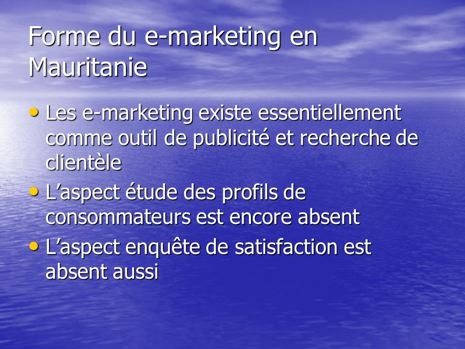 Forme du e-marketing en Mauritanie