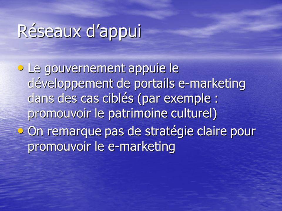 Réseaux d'appui Le gouvernement appuie le développement de portails e-marketing dans des cas ciblés (par exemple : promouvoir le patrimoine culturel)