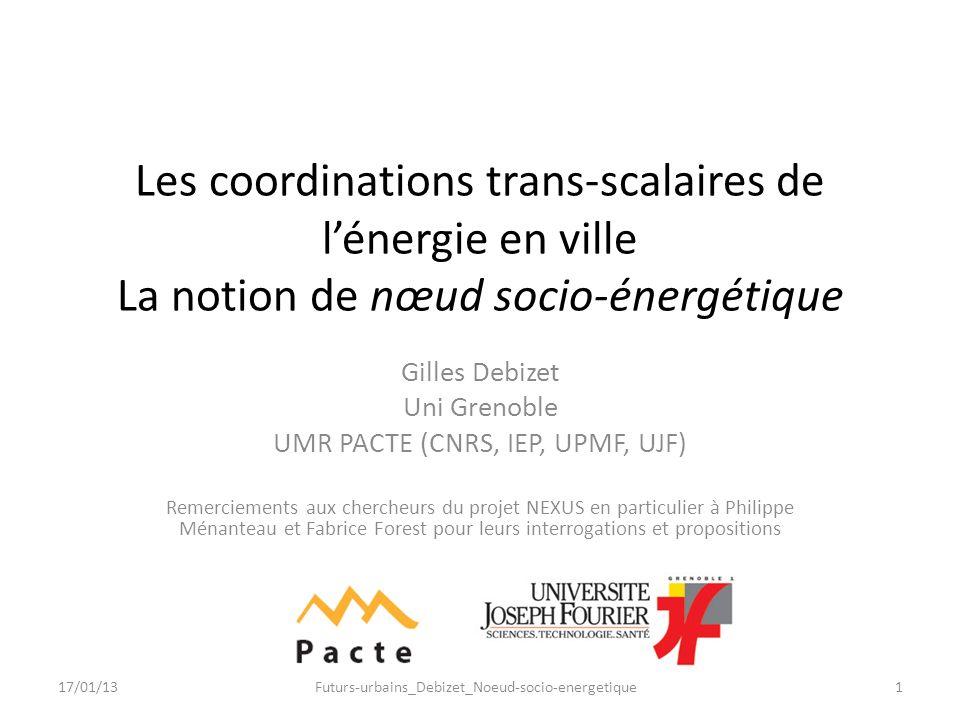 Les coordinations trans-scalaires de l'énergie en ville La notion de nœud socio-énergétique