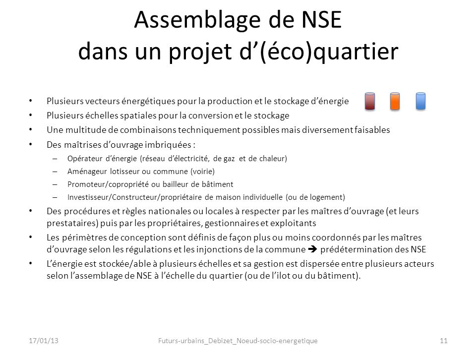 Assemblage de NSE dans un projet d'(éco)quartier