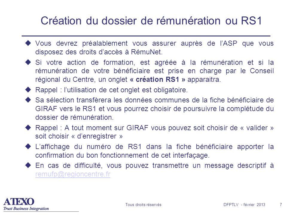 Création du dossier de rémunération ou RS1
