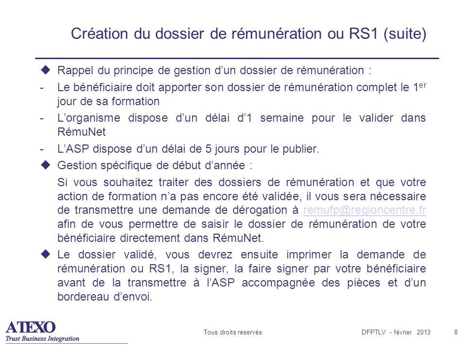 Création du dossier de rémunération ou RS1 (suite)
